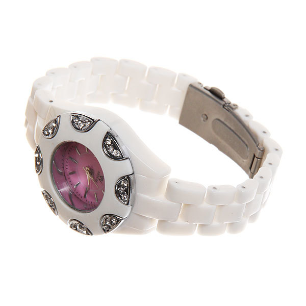 Часы наручные под керамику, цвет белый, оконтовка цвет серебро, яркий цветной циферблат купить оптом и в розницу