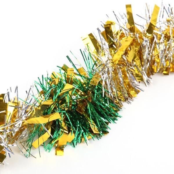 Мишура новогодняя 2 метра 9см ″Рождественские огоньки″ зеленый, золото, серебро купить оптом и в розницу