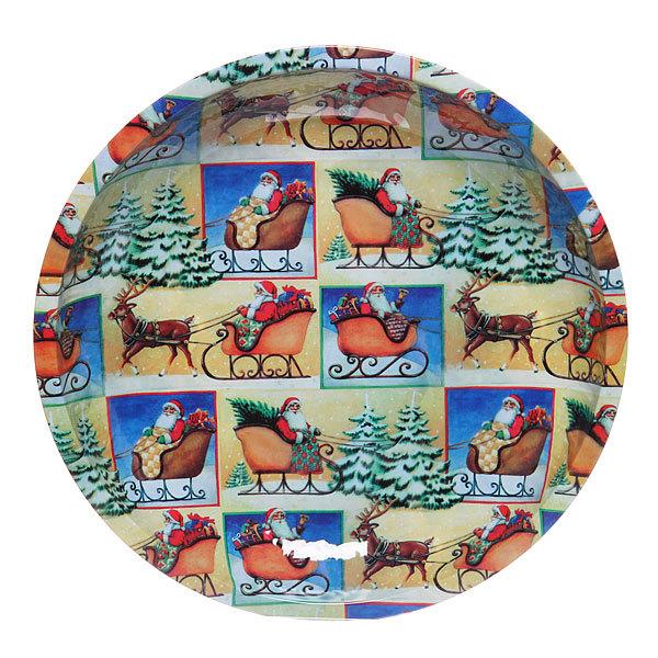 Блюдо жестяное 26см ″Дед Мороз в санях″ купить оптом и в розницу