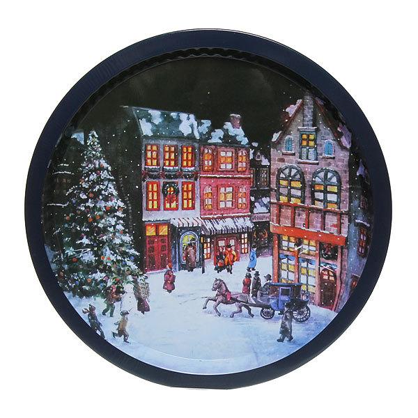 Поднос жестяной 32см ″Рождественская ночь″ купить оптом и в розницу