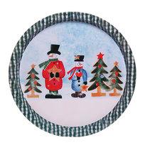 Поднос жестяной 32см ″Снеговики и елки″ купить оптом и в розницу