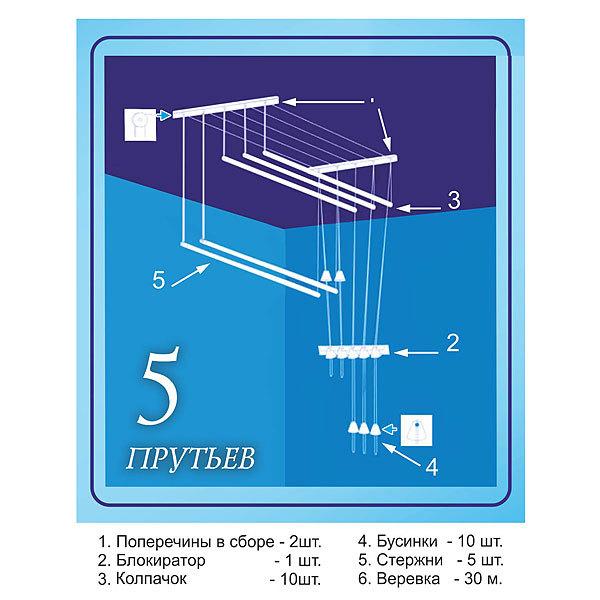 Сушилка потолочная Лиана ПЛЮС 130см голубая купить оптом и в розницу