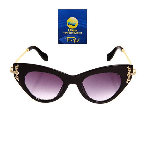 Очки солнцезащитные женские, форма кошка ″Сантана ШИК″, цвет черный, тонкие душки купить оптом и в розницу
