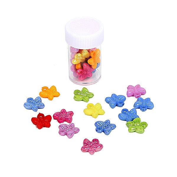 Бусины цветные Бабочки 144шт по 12шт в тубе d-11мм 364-2 купить оптом и в розницу