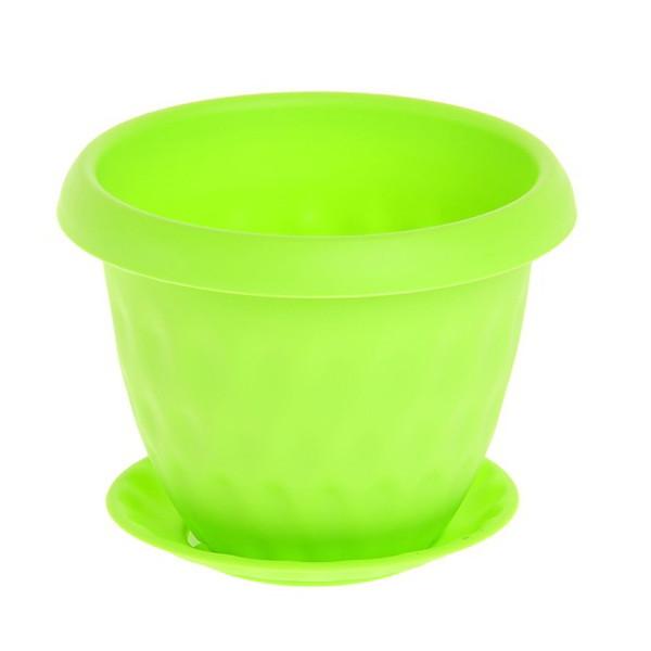 Горшок для цветов ″Розетта″ 2,8л Д200 c поддоном зеленый С127ЗЕЛ (Зеленый) купить оптом и в розницу