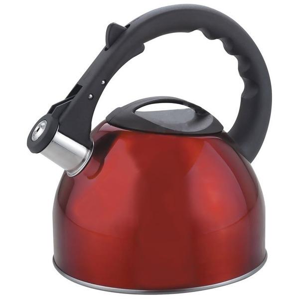 Чайник из нержавеющей стали 2,5л со свистком, красный купить оптом и в розницу
