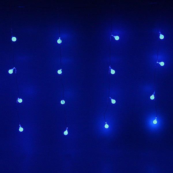 Бахрома светодиодная 2,5 х 0,6м, 48 ламп LED, Шар, Синий, прозр.пров,с возм.соед, 12 нитей купить оптом и в розницу