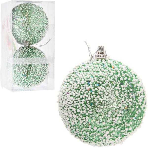 Новогодние шары ″Заснеженная елочка″ 8см (набор 2шт.) купить оптом и в розницу