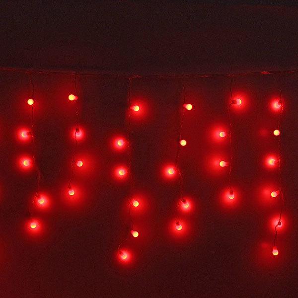 Бахрома светодиодная 3 х 0,3/0,4/0,5м, 96 ламп LED, Шар, Красный,без реж,прозр.пров,с возм.соед купить оптом и в розницу