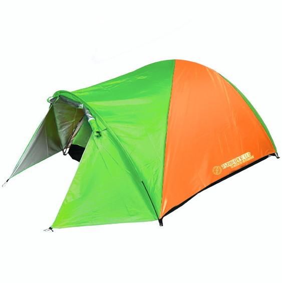 Палатка кемпинговая 3-местная 2-слойная Kama ТУРИСТ МАСТЕР, цвет оранжево-зеленый, (210+80)*200*150 купить оптом и в розницу