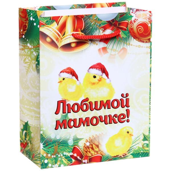 Пакет 11х14 см глянцевый ″Любимой мамочке″, Золотые цыплята, вертикальный купить оптом и в розницу