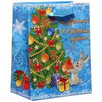 Пакет 11х14 см усиленный с блестками ″Поздравляю с Новым годом!″, Зайчик, вертикальный купить оптом и в розницу