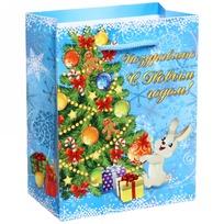 Пакет подарочный 11х14 см вертикальный с блестками ″Поздравляю с Новым годом!″, Зайчик купить оптом и в розницу