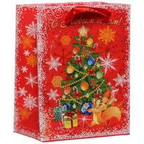 Пакет 11х14 см усиленный с блестками ″С Новым годом!″, Белочка, вертикальный купить оптом и в розницу