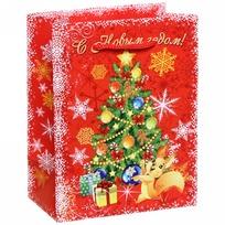 Пакет подарочный 11х14 см вертикальный ″С Новым годом!″, Белочка купить оптом и в розницу