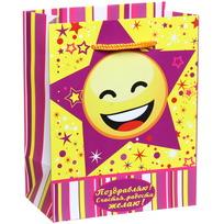Пакет подарочный 11х14 см вертикальный ″Поздравляю! Счастья радости желаю!″, Смайлы купить оптом и в розницу