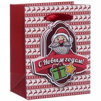 Пакет 11х14 см усиленный с 3Д-элементом ″С Новым годом″, Дед Мороз, вертикальный купить оптом и в розницу