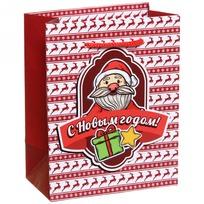 Пакет подарочный 11х14 см вертикальный с блестками ″С Новым годом″, Дед Мороз купить оптом и в розницу