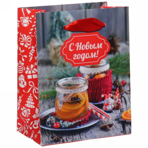 Пакет 11х14 см усиленный с блестками ″С Новым годом!″, Вкус праздника, вертикальный купить оптом и в розницу