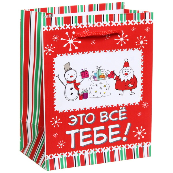 Пакет 11х14 см матовый ″Это все тебе!″, Снежон и Борода, вертикальный купить оптом и в розницу