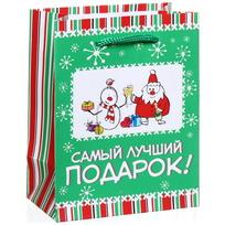 Пакет подарочный 11х14 см вертикальный ″Самый лучший подарок!″, Снежон и Борода купить оптом и в розницу