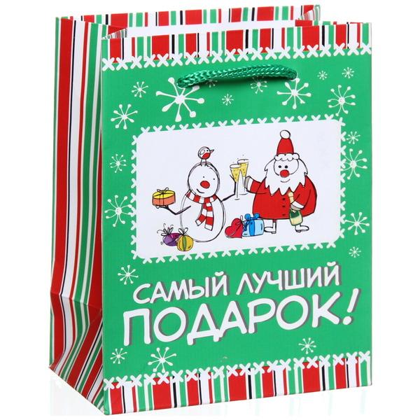 Пакет 11х14 см матовый ″Самый лучший подарок!″, Снежон и Борода, вертикальный купить оптом и в розницу