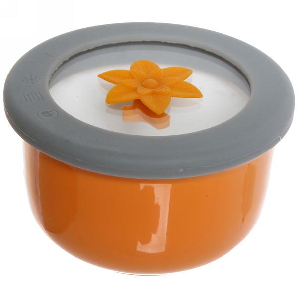 Салатник керамический 300мл с крышкой из стекла с силиконом малиновый купить оптом и в розницу