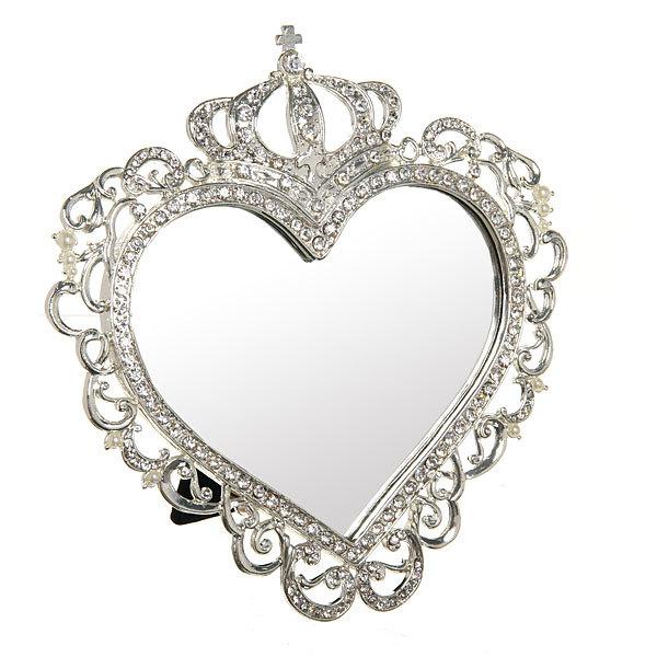 Зеркало настольное в металлической оправе ″Камея - Сердце″ цвет серебро, одностороннее 17*17см купить оптом и в розницу