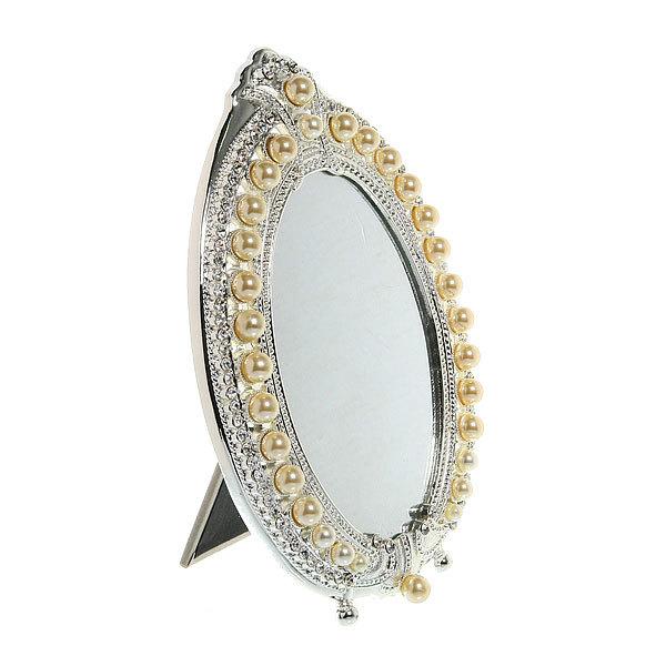 Зеркало настольное в металлической оправе ″Камея - Овал″ цвет серебро, одностороннее 15*21см купить оптом и в розницу