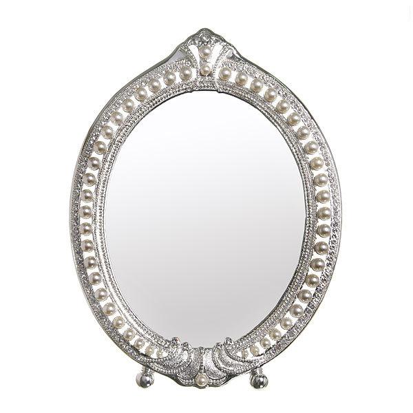 Зеркало настольное в металлической оправе ″Камея - Овал″ цвет серебро, одностороннее 33*25см купить оптом и в розницу