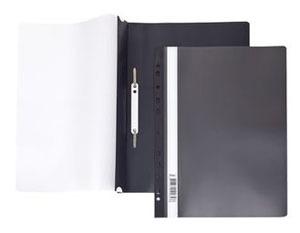 Папка-скоросшиватель A4 Hatber 140/180 мкм черная, пластик, с перфорацией, прозр.верх купить оптом и в розницу