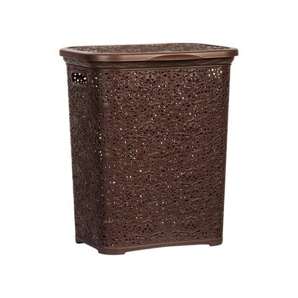 Кружевная корзинка для белья   корич  412 х 320 х 485  40 л.*6 купить оптом и в розницу