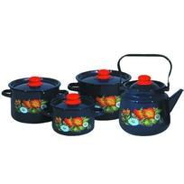 Набор посуды эмалированной 4 предмета ″Русское поле″ (1,5л, 3л, 4,5л, чайник 3,5л) №142 ,синий 1с142/1 купить оптом и в розницу