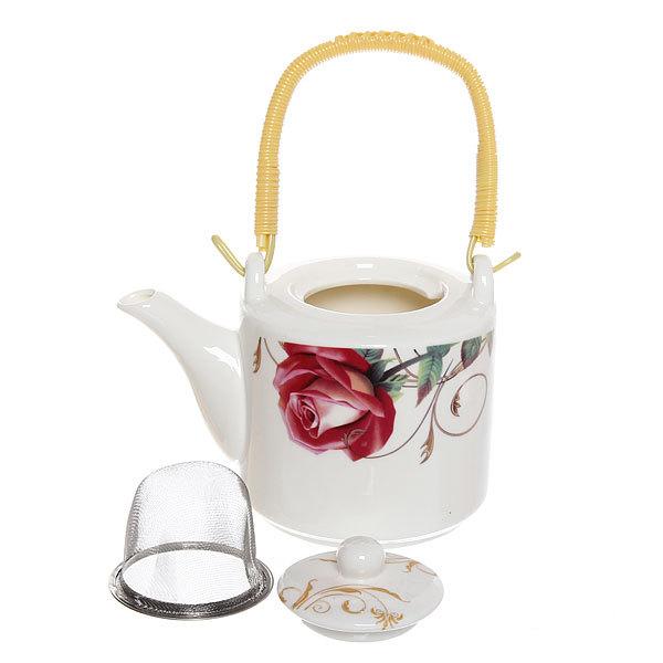 Чайник заварочный керамический 500 мл ″Цветы″ №2 купить оптом и в розницу
