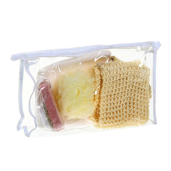Банный набор в косметичке ″Банька″ из 4 предметов (три мочалки и пемза со щеткой) купить оптом и в розницу