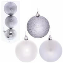 Новогодние шары 8 см (набор 3 шт) ″Микс фактур″, серебро купить оптом и в розницу