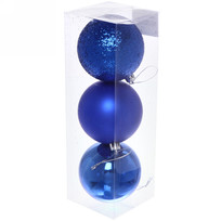 Новогодние шары 8 см (набор 3 шт) ″Микс фактур″, синий купить оптом и в розницу