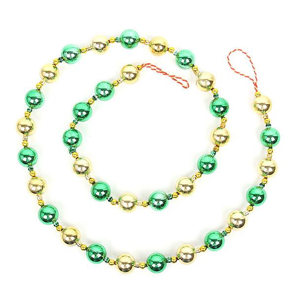 Бусы на ёлку золото, зеленые 1,5м ″Шарики″ купить оптом и в розницу