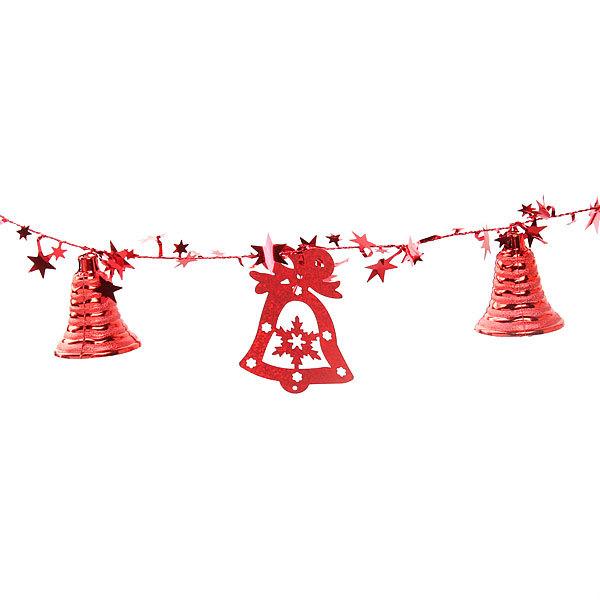 Бусы на ёлку красные 1,5м ″Колокольчики и звездочки″ купить оптом и в розницу