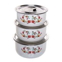 Контейнер для продуктов в наборе 3 шт с вакуумной крышкой ″Цветы″ 600,800,1200 мл 16907 купить оптом и в розницу
