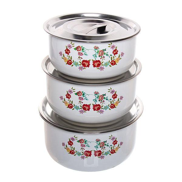 Контейнер для продуктов в наборе 3 шт с вакуумной крышкой ″Цветы″ 600,800,1200 мл купить оптом и в розницу