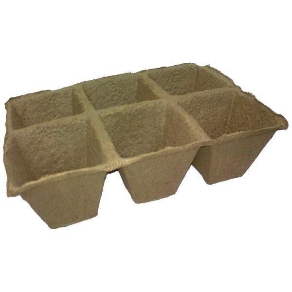 Горшочек торфяной квадратный 90*90*90 мм (в основании 50*50 мм) (блок 6 шт) купить оптом и в розницу