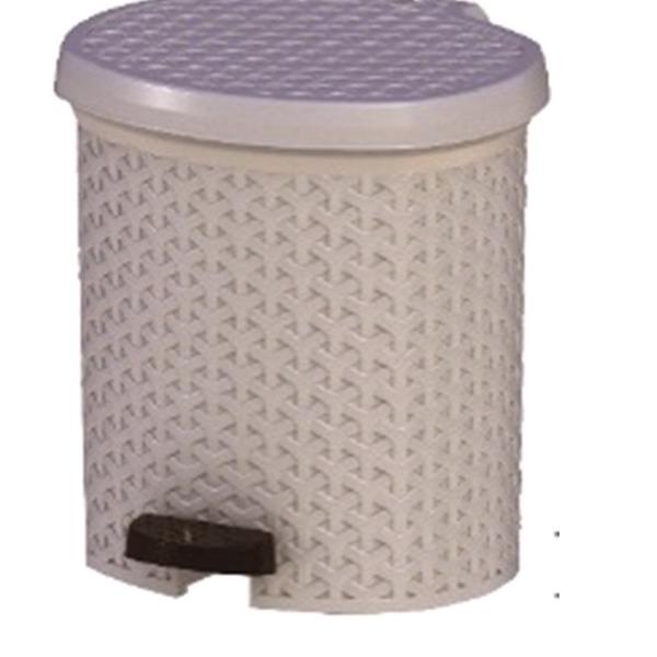 Контейнер педальный для мусора плетеный 6 л  (крем ) *6 245х230х260 купить оптом и в розницу