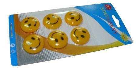 """Магниты д/досок D-30мм YIWU """"Смайлики"""" 6шт желтые купить оптом и в розницу"""