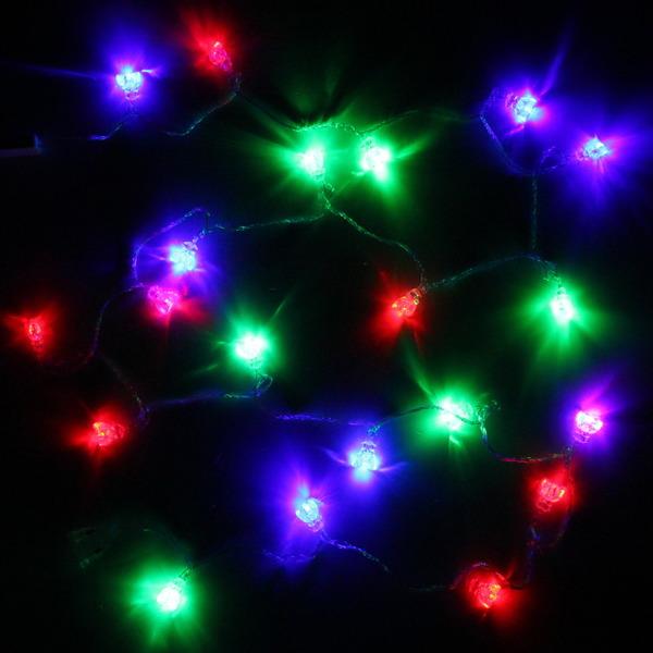 Гирлянда светодиодная 2,5м, 20 ламп LED, Подарок, RG/RB(красный,зеленый/красный,синий), авт.реж, пр.пров., с возм. соед. купить оптом и в розницу