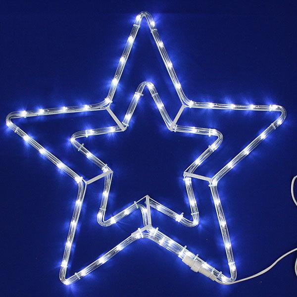 Световое панно, дюралайт, 54см,″Звезда″, 2 контура, белая купить оптом и в розницу