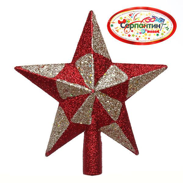 Звезда на ёлку красная 19см ″Калейдоскоп″ купить оптом и в розницу