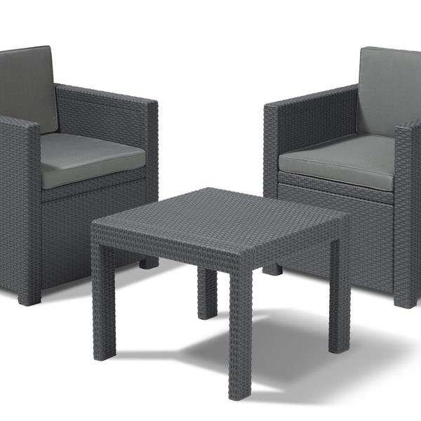 Комплект садовой мебели из 3-х предметов  (искусственный ротанг)АЛЛЕГРО БАЛКОН серый купить оптом и в розницу