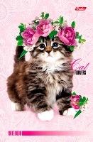 """Блокнот А6 120л.нелин.скрепка,тв.обл.HATBER, """"Котенок в цветах-ВАНИЛЬ"""" купить оптом и в розницу"""