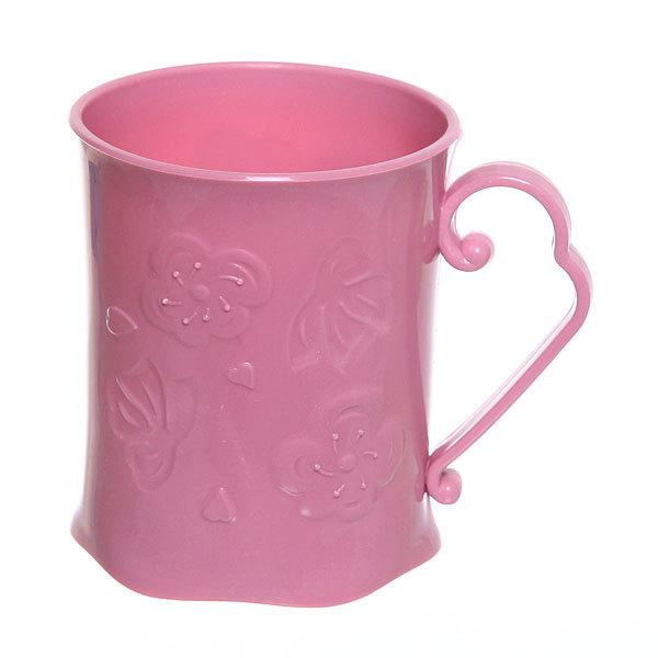 Кружка пластиковая 300мл ″Цветы″ розовая купить оптом и в розницу